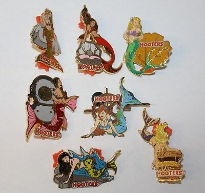 Hooters Mermaid Series (Complete Set Of 7) Girl Lapel Hat  Pin Lot