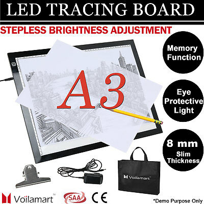 A3 LED Stepless Bright Light Box Tracing Board Stencil Drawing Pad Copy Lightbox