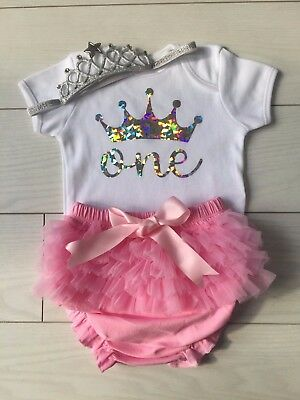 NEW Baby Girls 1st First Birthday Outfit Cake Smash Prop & Headband Pink Silver