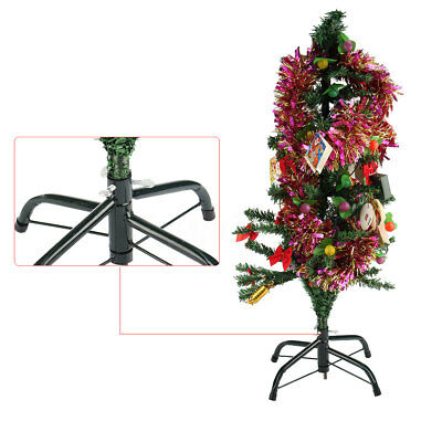 Christmas Tree Stand Green Metal Holder Base Cast Iron Stand 4 Feet Decoration