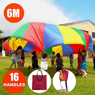 6M Kids Play Parachute Outdoor Sport Exercise Toy Teamwork Game 16 Handles 20FT