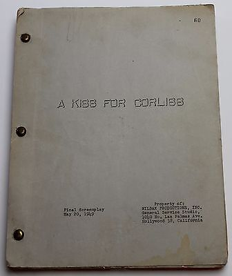 A Kiss for Corliss * 1949 Movie Script Screenplay * Shirley Temple, Comedy Film