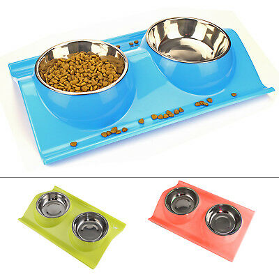 Stainless Double Food/water Pet Feeding Bowl Dog/puppy/cat/kitten Non Slip Dish