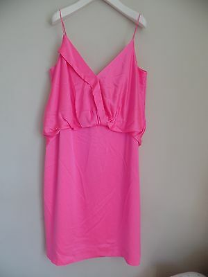 Women's silk party dress by BR in size 14 pink strappy, below knee, lovely on