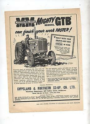 Minneapolis Moline GTB Tractor Advertisement removed from 1953 Farming Magazine