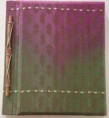 Hand Made Balinese Photo Album - Green&Pink Silky Material W/Pattern (20 pages)