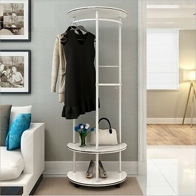 High Gloss Wooden Umbrella Coat Hat Bag Shoes Stand Shelf Garment Hanger Hooks