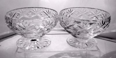 Two Webb Corbett Crystal Cut Glass Footed Sundae Dishes Condiment Bowls Georgian