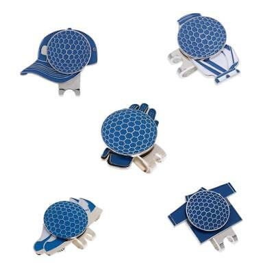 5Pcs Metal Hat Clip with Magnetic Golf Ball Marker Assorted Patterns Blue