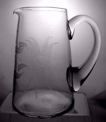 Victorian c1880 -1900 Lead Glass Jug / Pitcher Decorated Foliage Perfect Present