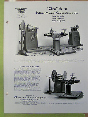 Oliver No.21 Pattern Makers Combination Lathe Brochure