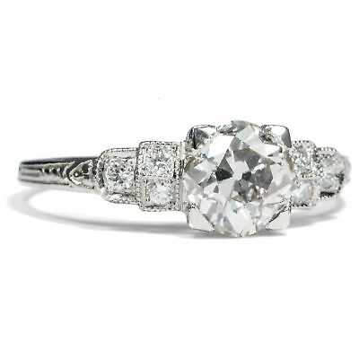 Traumhafter Brillant Ring Platin & 1,25 ct Diamant Art Déco Form Verlobungsring