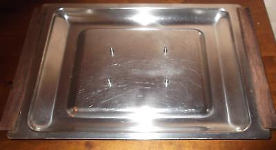 Vintage Retro Danish Stainless Steel Spiked Meat Carving Tray - Wooden Handles