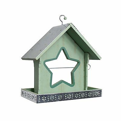 Garden Bird Feeder For Seed or Nuts Green with Centre Star Shaped Apple Holder