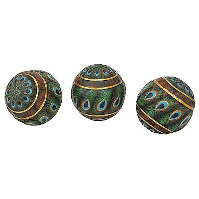 Art Deco Feathered Design Decorative Peacock Orbs Accent Balls Set of 3