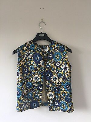 vintage silk quilted blue and yellow floral waistcoat or button up top
