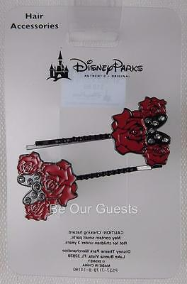 Disney Theme Parks Minnie Mouse Rose Metal Hair Pins Accessory Clips New