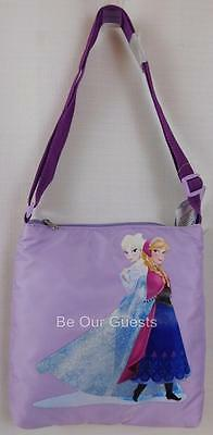 Disney Parks Frozen Elsa Anna Purple Zip Up Crossbody Purse Tote Bag New