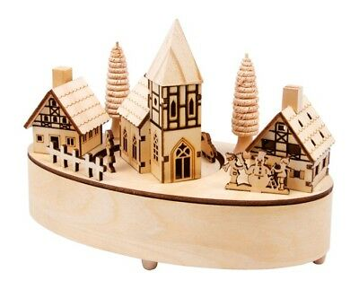 Carillon wooden Small village with lights at LED, gift idea for Christmas