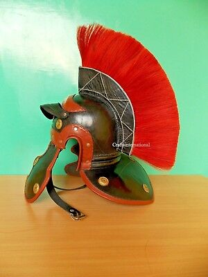 Medieval Leather Roman Centurion Imperial Armor Helmet & Red Plume For Larp Sca