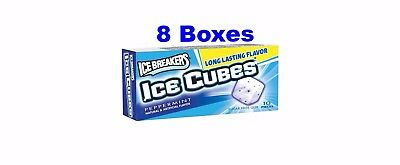 ICE BREAKERS ICE CUBES Sugar Free Peppermint Gum 10 Pieces Per Box, 8 Boxes