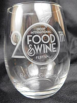 Disney Epcot Food Wine Festival 2015 Premium Package Stemless Wine Glass New