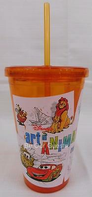 Disney Parks Art of Animation Resort Hotel Plastic Tumbler Cup Straw New