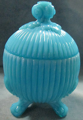 Finial Lid Portieux Vallerysthal France Turquoise Blue Milk Glass Footed Dish