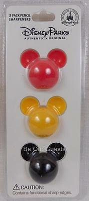 Disney Parks 3 Pack Mickey Mouse Icon Pencil Sharpeners New