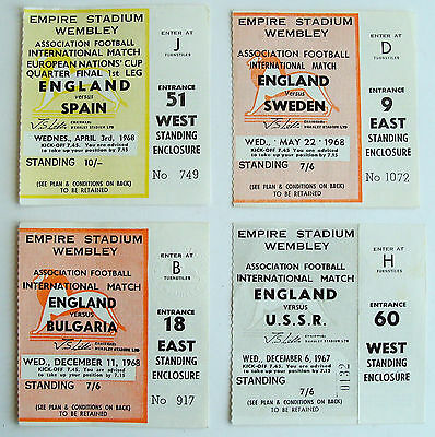 4 used football Tickets 1967 1968 ENGLAND v SWEDEN USSR RUSSIA BULGARIA SPAIN