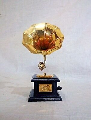 "9"" Showpiece Gramaphone Gramophone Phonograph Wood Brass Horn Ornament Decor"