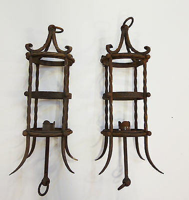 Pair of Early 20th Century Wrought Iron Hanging Lanterns