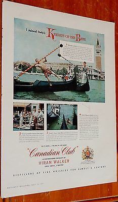 1957 Hiram Walker Canadian Whisky Italy's Knights Of The Bath Ad - Vintage 50S