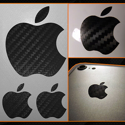 Adesivo Sticker Mela Apple iPhone iPad iMac Carbonio Nero / Black Carbon