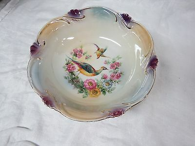 Erphila Germany Handpainted Bowl with Pheasants and Flowers (lot 717)