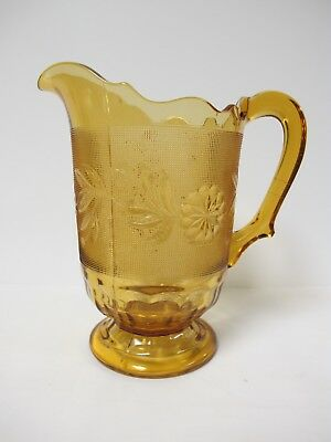 Indiana Topaz Amber Tiara Daisy Footed Pitcher