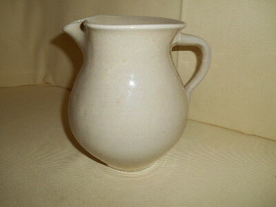 Vintage Oatmeal Glaze Unmarked Bybee Art Pottery Stoneware Pitcher Hand Thrown