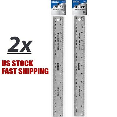 "Lot of 2 Stainless Steel Quality Non-Skid Back Straight Ruler 12"" (30cm)"