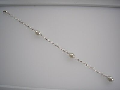 Delicate Teardrop Pearl Backdrop Back Chain Clip-on attachment for a necklace