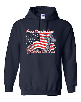 Stand for the Flag Kneel for Cross American Flag Unisex Hoodie Sweatshirt 1692