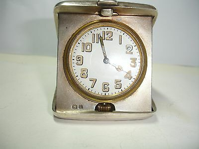 FREE P&P! SOLID SILVER Antique Travel Watch Clock. GREAT WORKING ORDER/CONDITION