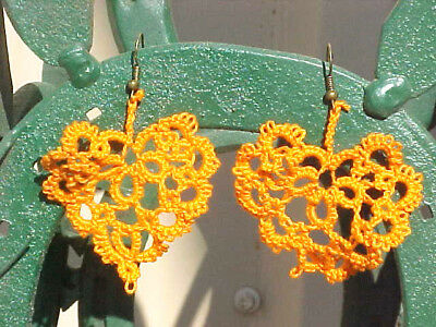 Tatted Earring Hearts Orange Unique New by Dove Country Tatting  Victorian Lace