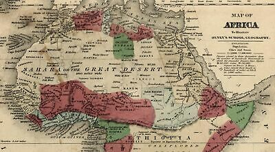 """Africa """"Unexplored Regions"""" Mountains of the Moon Kong 1844-7 old Robinson map"""