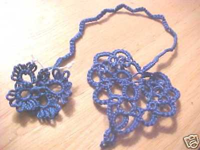 4 Tatted Heart Butterfly Bookmark Blue Lacey Book Gift Tatting by Dove Country