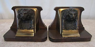Vintage Antique Heavy Brass & Cast Lion Head Mounted on Wood Bookends