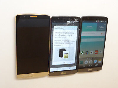 Lot of 3 LG G3 Smartphones 1 AT&T 1 Claro 1 GSM Unlocked Mixed Models AS-IS GSM