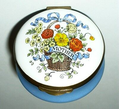 """Crummles English Enamel Box - """"mother"""" & Wicker Basket Of Flowers - Mother's Day"""