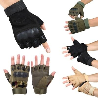 Hard Knuckle Half Finger Gloves Paintball Tactical Fingerless Motorcycle Cycling