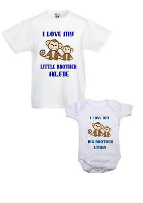 Brother/Sister T shirt and Baby Vest combo! I Love my Brother/sister Monkeys!