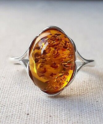 Ring 925 Sterling Silver 14 x 10 mm Genuine Cognac Baltic Amber